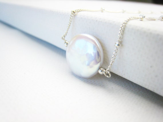 Wedding Gift For Bride Jewelry : coin pearl necklace pearl necklace wedding bridal jewelry