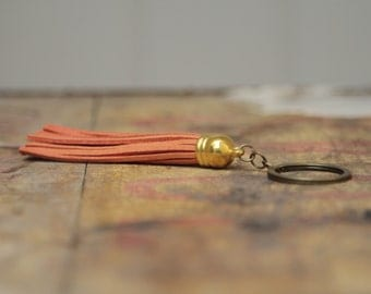 Orange tassel keychain housewarming gift key chain