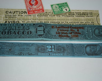Vintage Tobacco Tax Paid Stamp plus Tax Conveyance Stamp