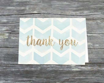 Gold and Blue Chevron Thank You Card