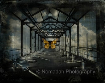Butterfly Dreams, abstract photography, brewery and butterflies, clouds, dark, eerie, tunnel, blue, surreal dream image, Nomadah Photography