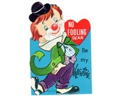 Vintage 1950s Clown Valentine, Childrens Valentines Day Card, Novelty Valentine Card, Black Bowler Hat Red Nose Unused Old Greeting Card