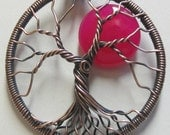 Tree of Life Hot Pink Chalcedony Full Moon set in Antique Copper Wire,  Hot Pink Chalcedony Necklace