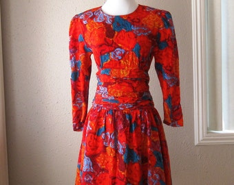 Vintage 1980's Silk Floral Dress - Size 6