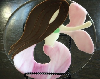 Mermaid with Pink Tail Fused Glass Plate