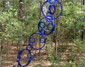 GLASS WINDCHIMES from RECYCLED bottles, eco friendly, blue, garden decor, wind chimes, mobiles, musical, windchimes