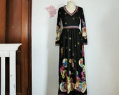 Vintage 70's Boho Maxi Dress in Black by Saks Fifth Avenue