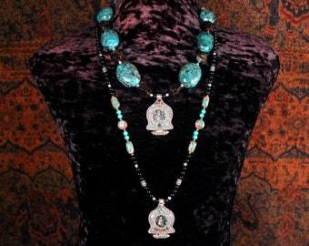 Tibetan Jewelry, Buddha Necklace, Antique Gau Pendant, Turquoise Statement Necklace, Ethnic Jewelry, Yoga, Ancient Jewelry
