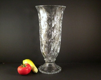 Czech Cut Crystal Wedding Anniversary Vase /  Signed Shannon / Enormous at 17 inches high