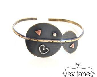 Round Oval Heart Black Slim Bracelet Cuff Brass Copper Sterling Silver Oxidized Band Bangle Boho Hippie Ethnic Open by evismetalwork