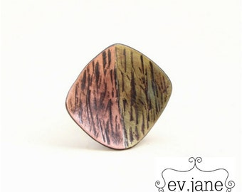 Square Hand Textured Ring US 5.25 Brass Copper Sterling Silver Custom Metalwork Soldered Oxidized Boho Hippie by evismetalwork