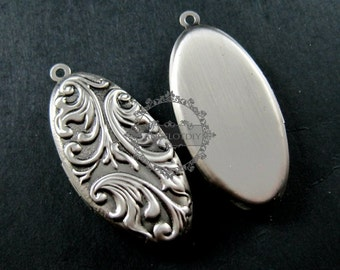20x40mm vintage style flower engraved antiqued silver brass oval photo locket pendant charm DIY supplies 1123015