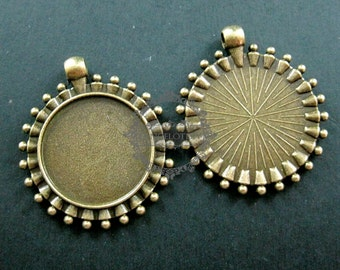 5pcs 25mm round setting size vintage style antiqued bronze flower cabochon bezel tray DIY pendant charm supplies jewelry findings 1411098