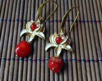 Red Coral Earrings, Golden Lotus drop earrings,  Lotus and Coral Earrings Handmade