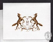 Personalized Note Cards, Monogrammed Note Cards, Fox Crest, Personalized Stationery, Set of 10 Folding Note Cards by No.9
