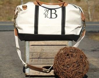 Monogrammed Canvas Weekender Satchel Duffle Bag Navy or Black Trim with Leather Handles Luggage