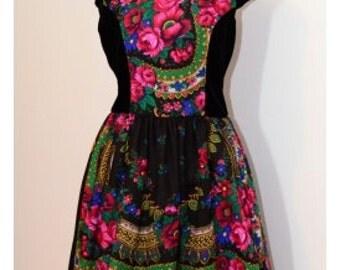 Black Pavlovo Flower Dress Folk flower Dress Russian print flower Dress Stage dress