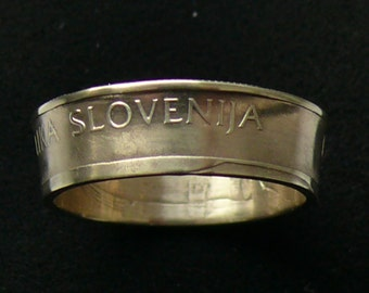Brass Coin Ring 1993 Slovenia 2 Tolarja, Ring Size 8 and Double Sided