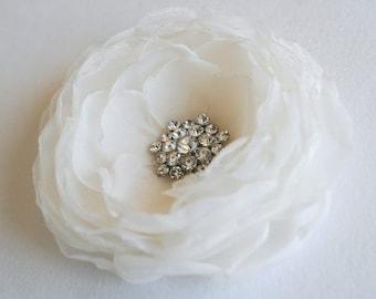 Ivory Bridal Hair Flower Wedding Hairpiece Ivory Bridal Flower Hair Clip Fascinator Bridal Headpiece Rhinestones Crystals Classic Peony
