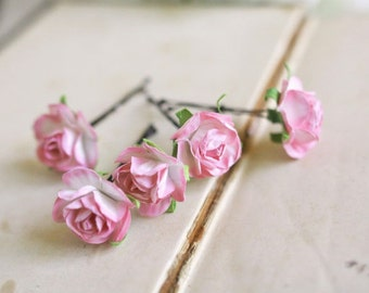 Pink Roses Hair Pins (5 pcs) Bohemian Wedding Hair Flowers, Bridal Hair Accessories, Bridesmaid Clips, Flower Girls, Pink Wedding Flowers