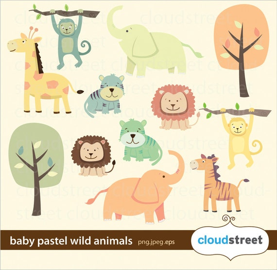 buy 2 get 1 free baby pastel wild animals clipart for personal and commercial use ( cute animal clip art ) vector graphics