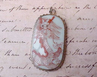 Lovely Exotic Asian Broken China Pendant with Hand Painted Dragon Design