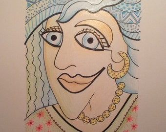 """Funky Face Portrait, Original Painting  6/4"""" Illustration, Signed by Artist, Pencil & Ink COLORFUL, SALE !"""