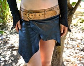 Festival Leather Mini Skirt - Hadra - Black & Gold - with Leather Belt and Secret Pocket