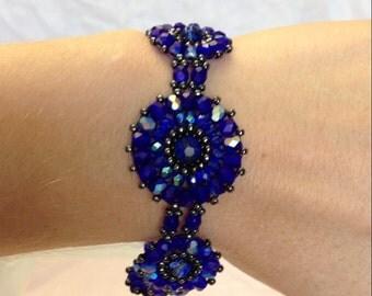Blue, Black, and Gunmetal Woven Bracelet