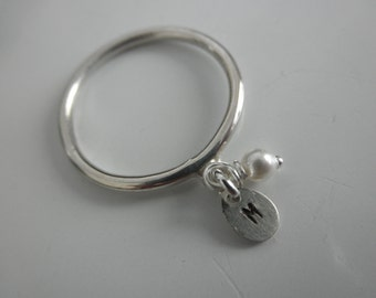 Initial charm ring sterling silver and a tiny  pearl