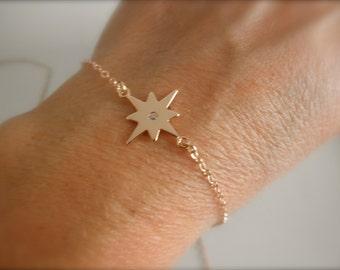 Northern CZ Star bracelet -  14K rose gold filled chain- Rose gold northern star bracelet - rose gold cz northern star charm