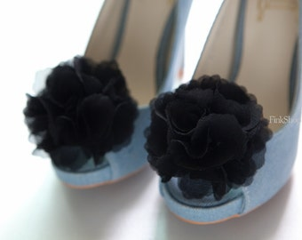 Black-Set of 2,Chiffon flower shoe clips for bridal wedding-Choose your Color