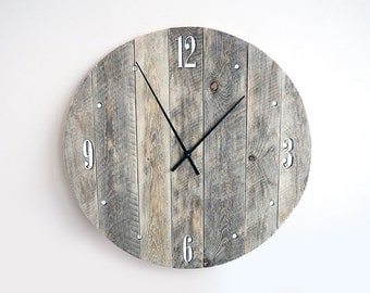 rustic wall clock large grey wall clock weathered wood clock home decor reclaimed wood decor