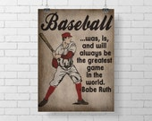 Sport Print- Vintage Baseball Print - Kids Room Decor - Babe Ruth Quote - sports - baseball print decor - illustration