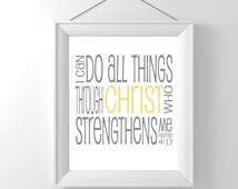 PRINTABLE - I can do all things through Christ - Religious Print - Christian art - home decor - wall art - phillipians 4