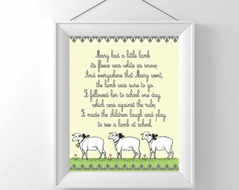 Printable Nursery Print - Nursery Rhyme -Mary had a little lamb - Vintage - Children Wall decor - Classic - gender neutral
