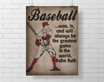 Sport Print- Vintage Baseball Art Print - Kids Baseball Room Decor - Babe Ruth Quote