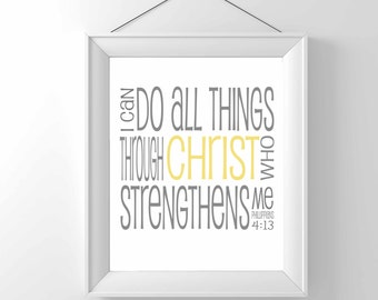 Print - I can do all things through Christ - Religious Print - Christian art - home decor - wall art - phillipians 4