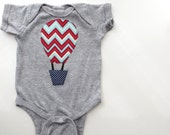 Hot Air Ballon onesie 6M chevron easter spring aqua Applique Modern onesie unique baby child infant