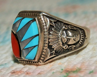 VINTAGE ZUNI NAVAJO Inlay Ring Sterling Size11.5 c1975