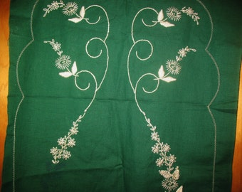 Vintage Stamped Unfinished Embroidered  Table Scarf or Runner White Embroidery on Green Cotton Crochet Edges