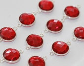 Ruby Red Quartz Faceted Coin Bezel Gemstone Sterling Silver Connector, 20 x 13 mm GM2236FC/20/SC