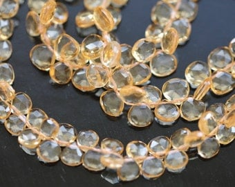 Golden Citrine Faceted Heart Briolettes, 5 - 7 mm, 6 beads GM0901FH/6/6