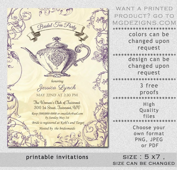 Printable bridal shower invitation template bridal tea shower il570xn filmwisefo