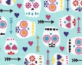 NEW - Timeless Treasures - Modern Sugar Skulls - Mint - Novelty Fabric - Choose Your Cut 1/2 or Full Yard