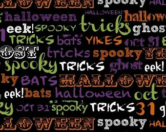 SALE- Windham Fabrics - Raven - Spooky Words -  Word Fabric - Charcoal - Choose Your Cut 1/2 or Full Yard