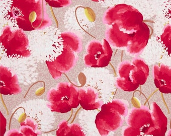 Nel Whatmore - Free Spirit Fabric - Memory Lane - Sweet Poppies - Stone - Choose Your Cut-1/2 or Full Yard