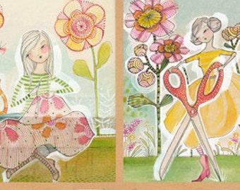 "NEW - Blend Fabrics - The Makers - Happy Crafty Panel - 24"" x 44"" - PANEL Fabric by Cori Dantini"