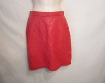 80's Soft Red Leather Short Skirt