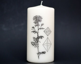 Element Candle - Pillar Candle - Gift Under 20 - Crystals - Flower